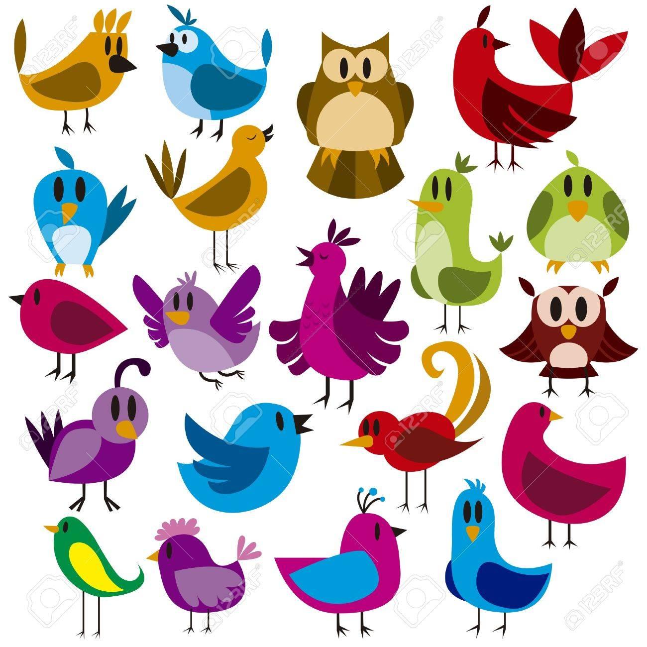 A cute vector set of 20 cartoon birds - 20943701