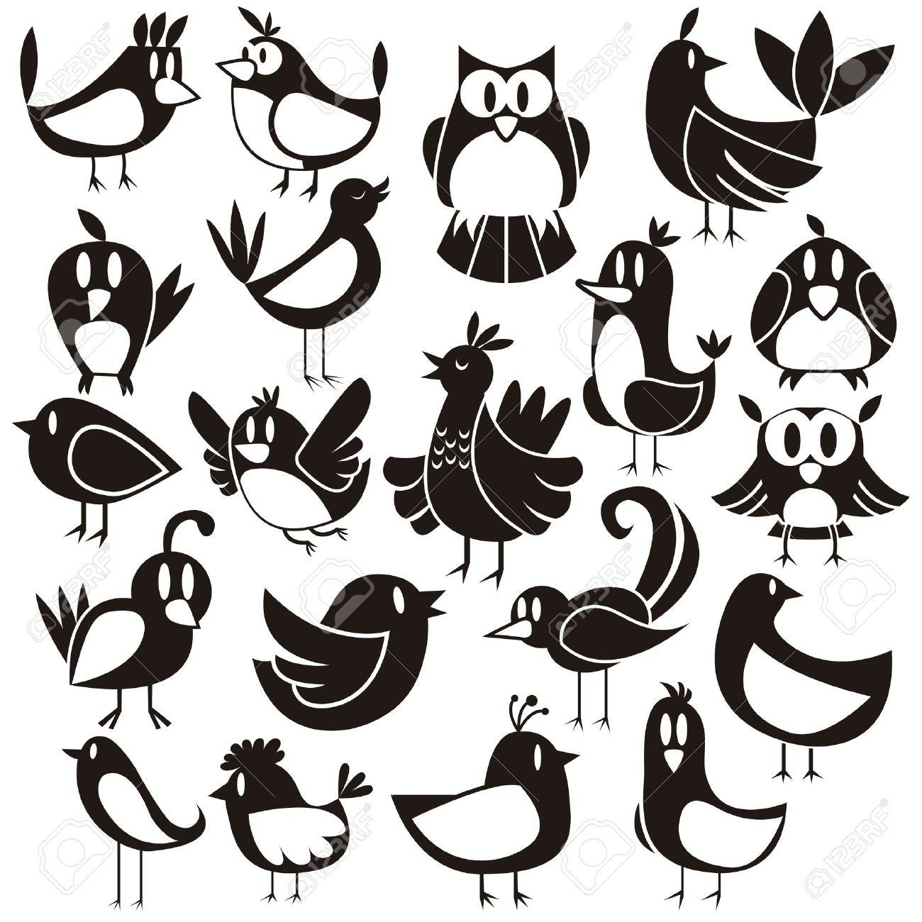 A cute vector set of 20 cartoon birds - 20943703