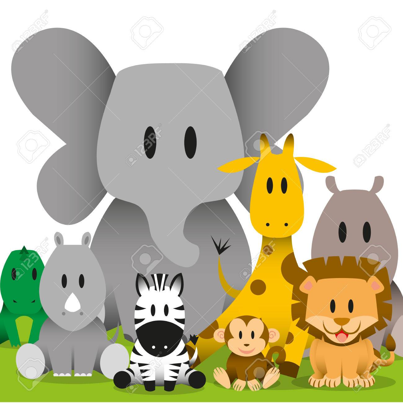 A Vector Cute Cartoon Wild Baby Animals Scene Royalty Free Cliparts Vectors And Stock Illustration Image 30333860