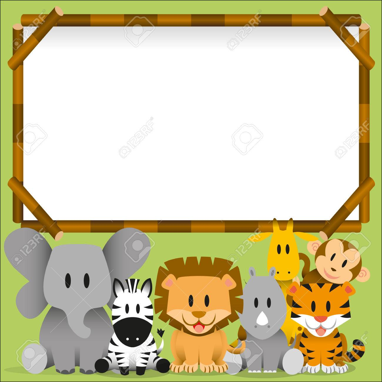 Vector Cute wild animals and blank board - 30334336