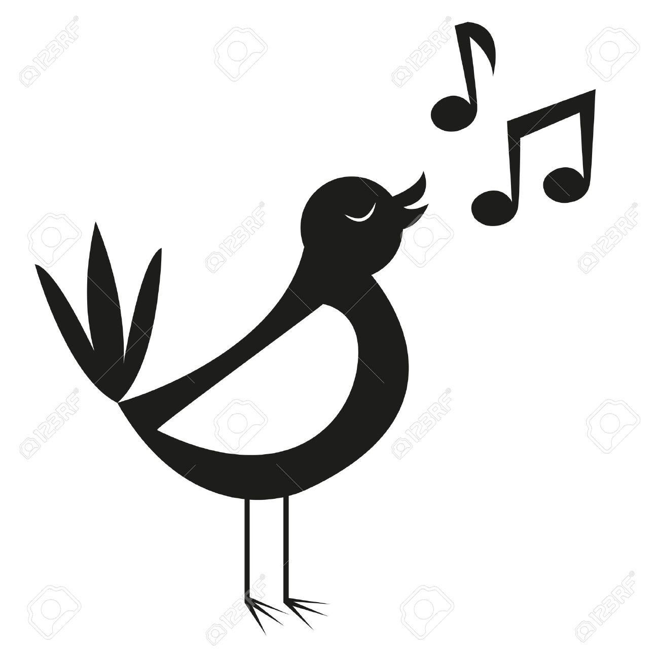 Vector Cute Black And White Cartoon Bird Singing - 30334346