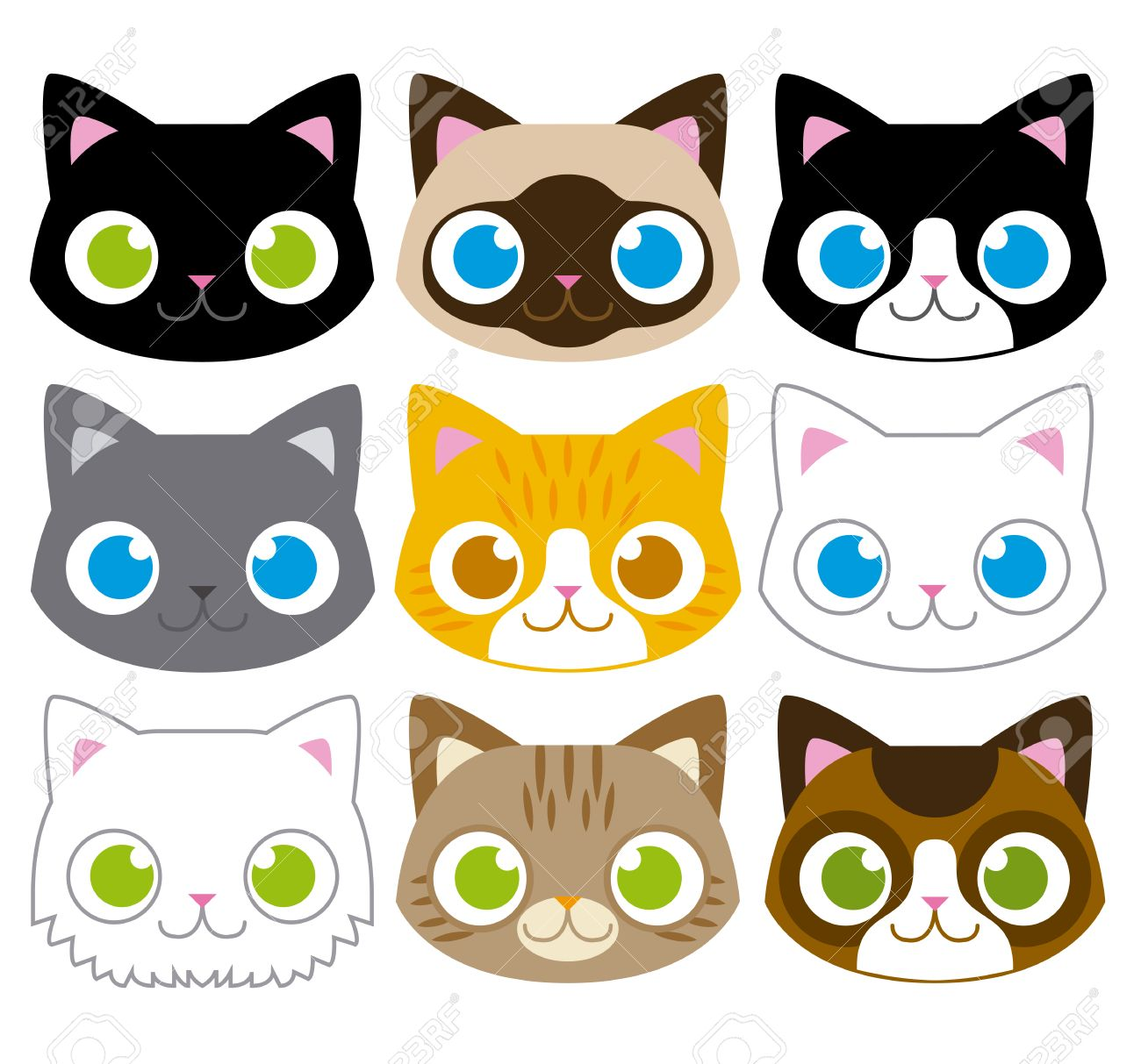 Vector Set Of Different Adorable Cartoon Cats Faces - 30333812