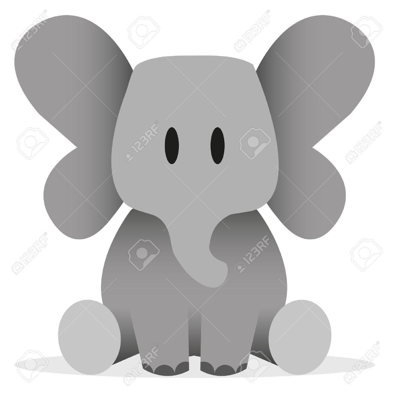 a vector cute cartoon baby elephant icon royalty free cliparts