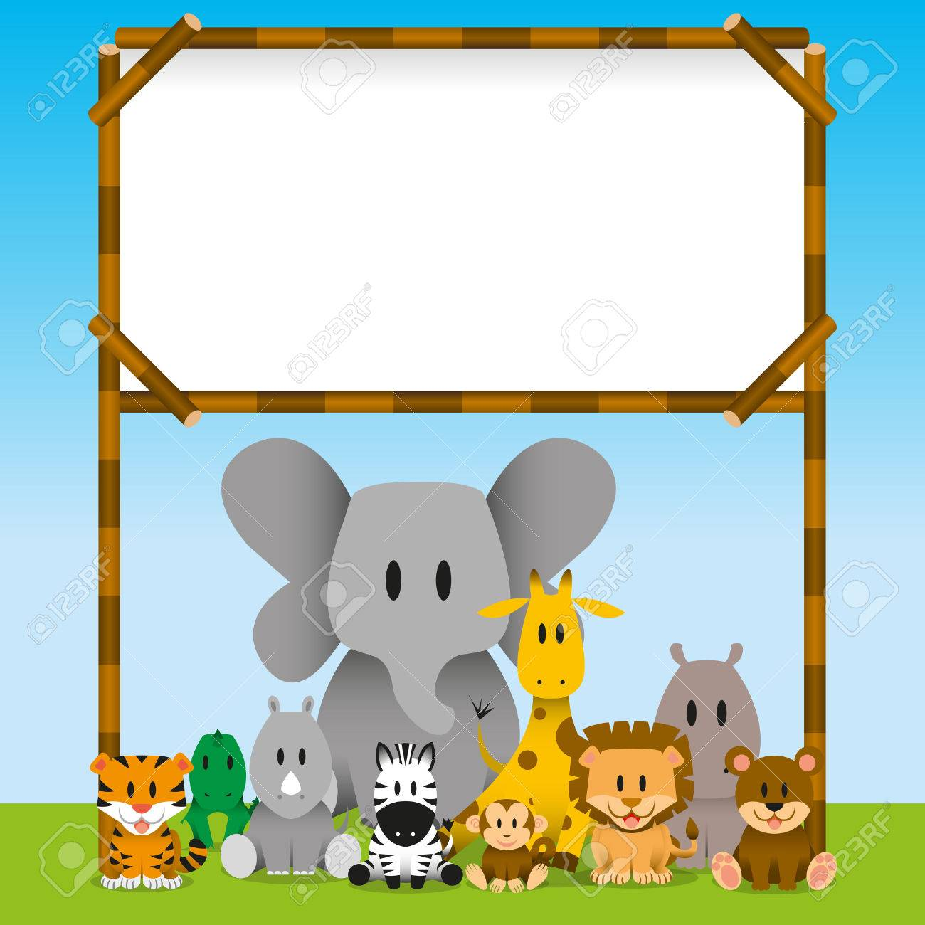 Vector Cute wild animals and blank board - 30330748