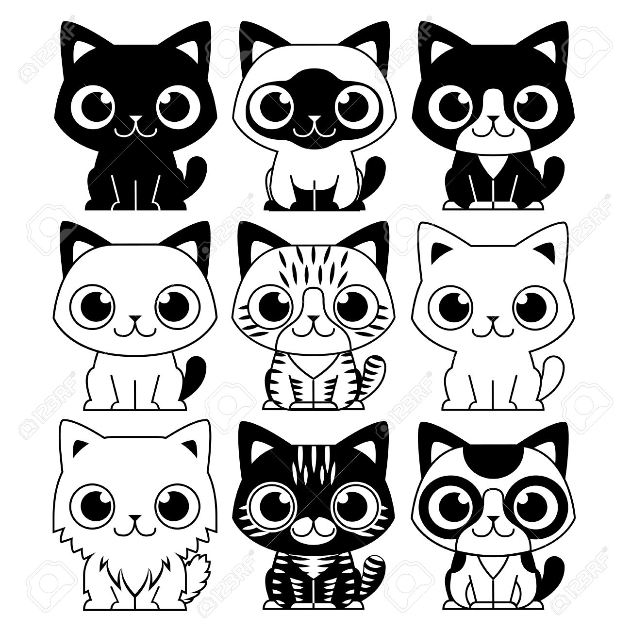 Vector Set Of Different Adorable Cartoon Cats Isolated Royalty ...