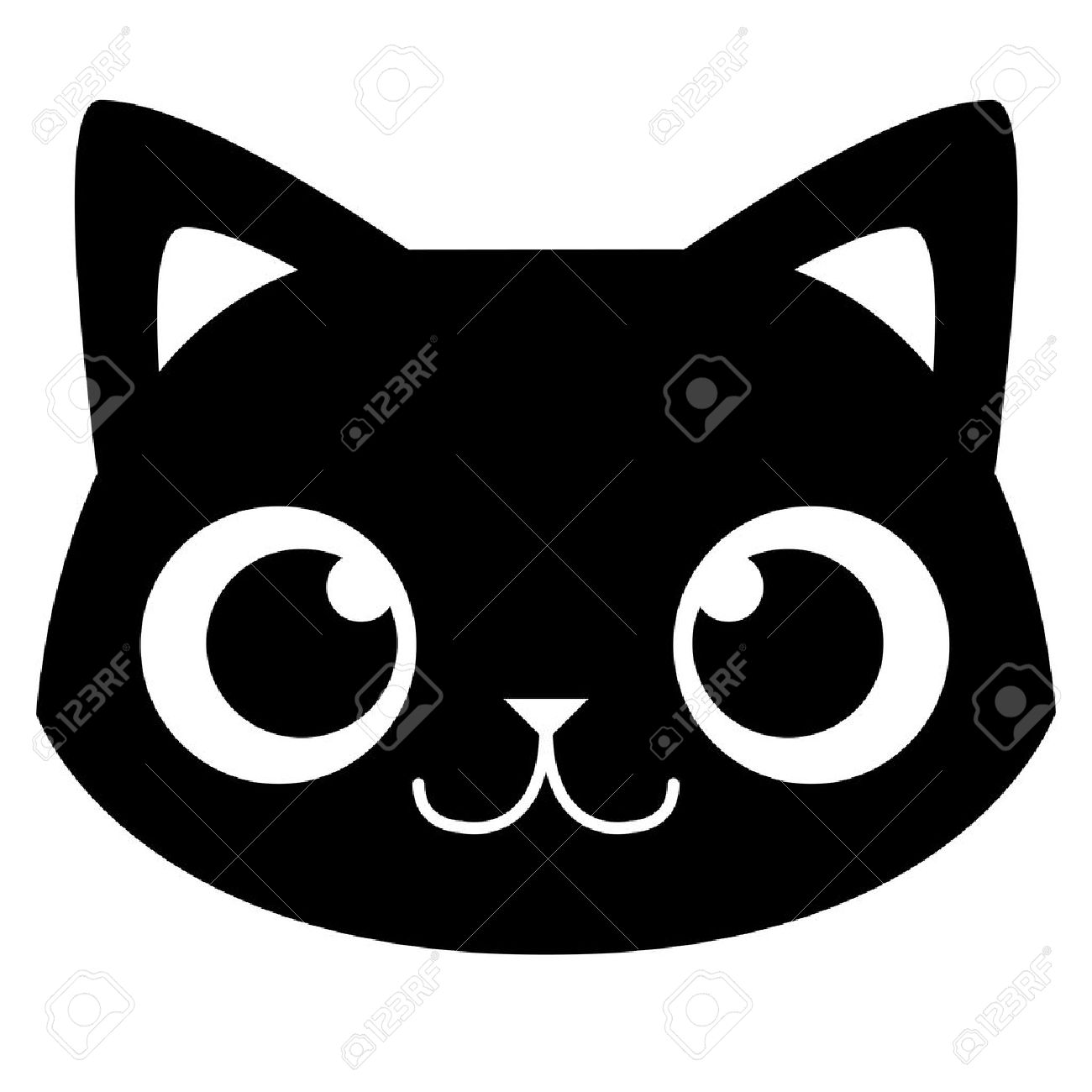 Vector Cartoon Adorable Cat Face Isolated Illustration - 30330242