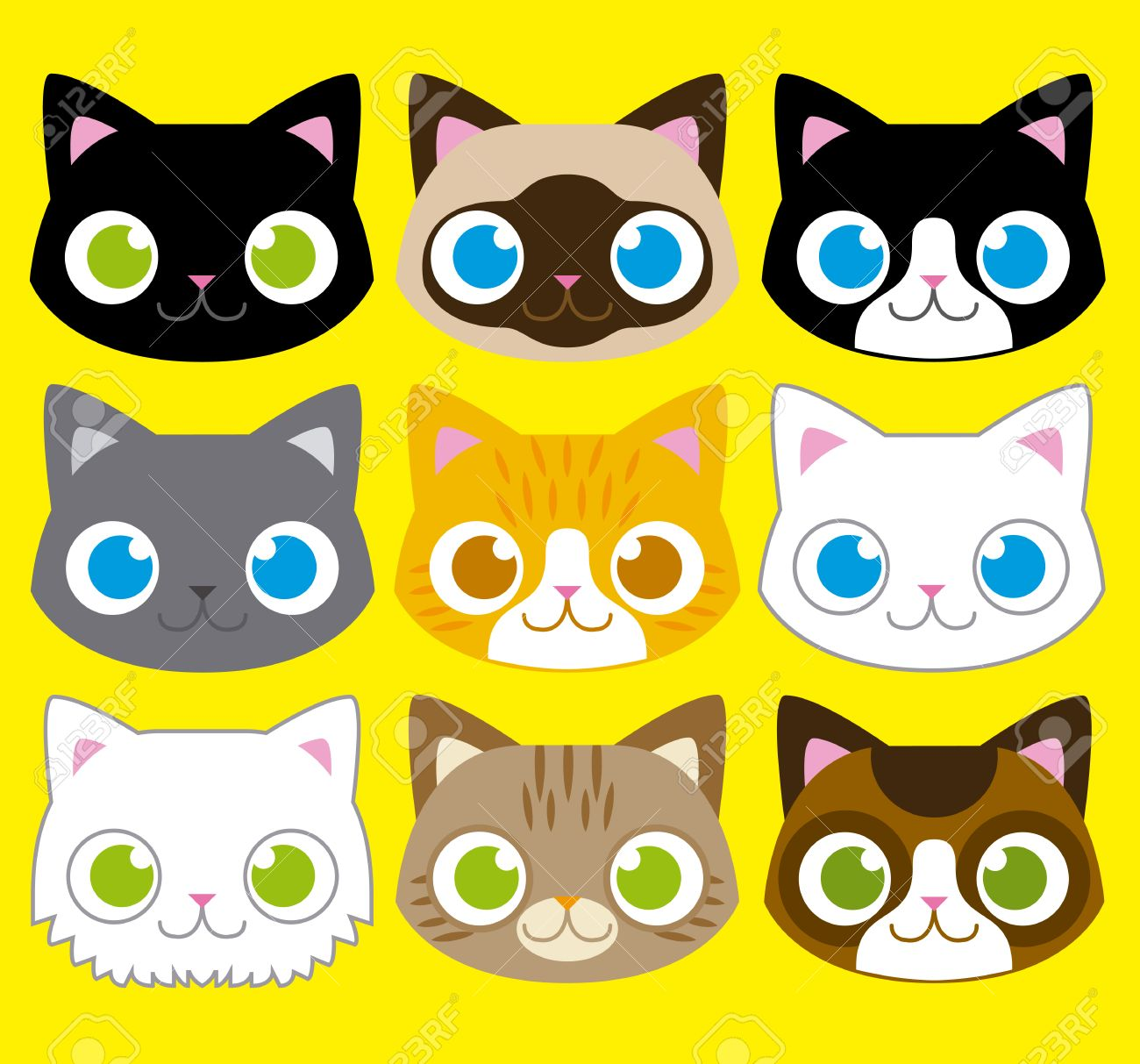 Vector Set Of Different Adorable Cartoon Cats Faces Royalty Free