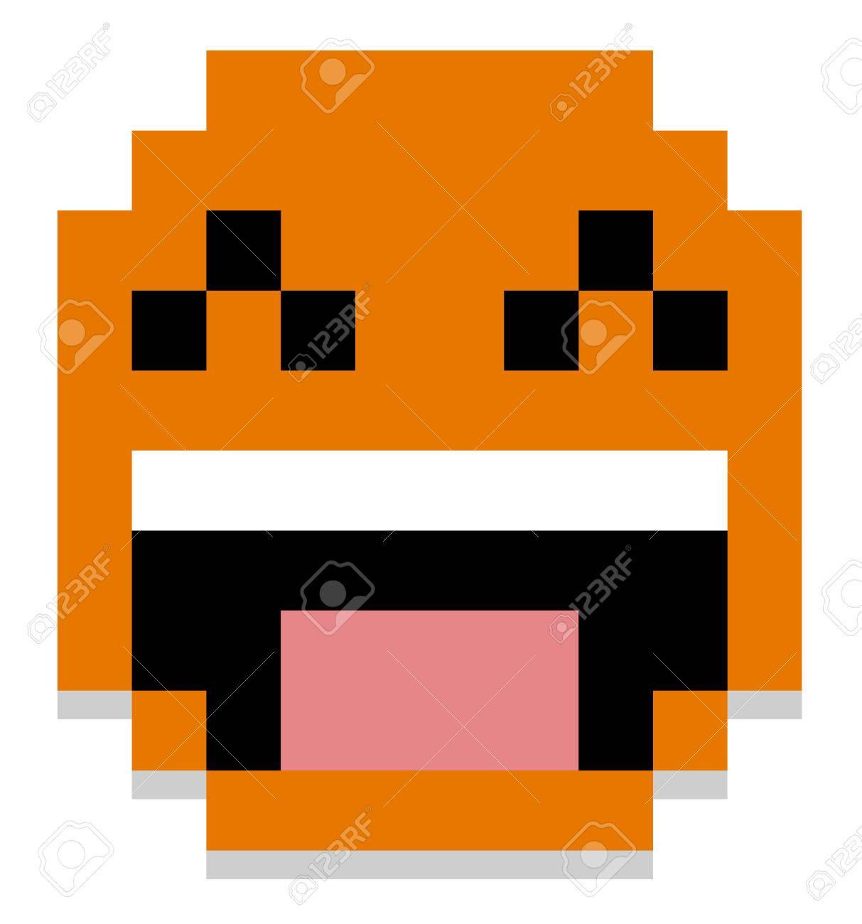 Vecteur Mignon Pixel Cartoon Happy Face Isolé