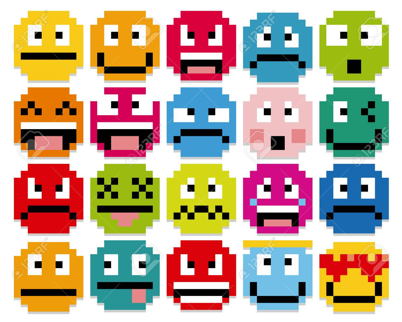 Vector Set Of Different Cartoon Pixel Faces - 35758810