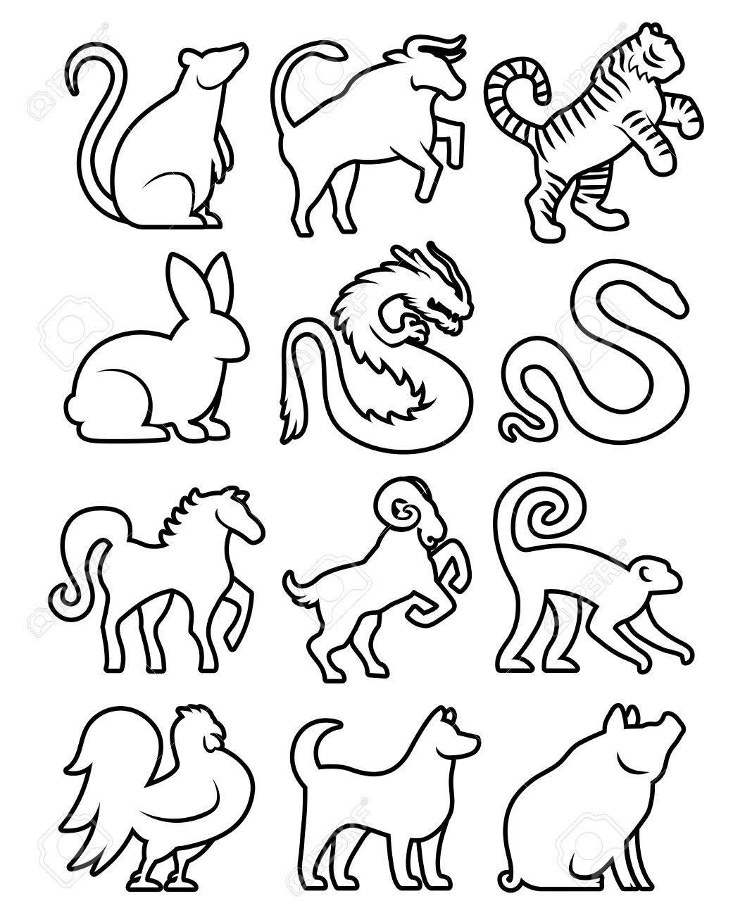 Set Of Stylized Chinese Zodiac Signs - 43126663