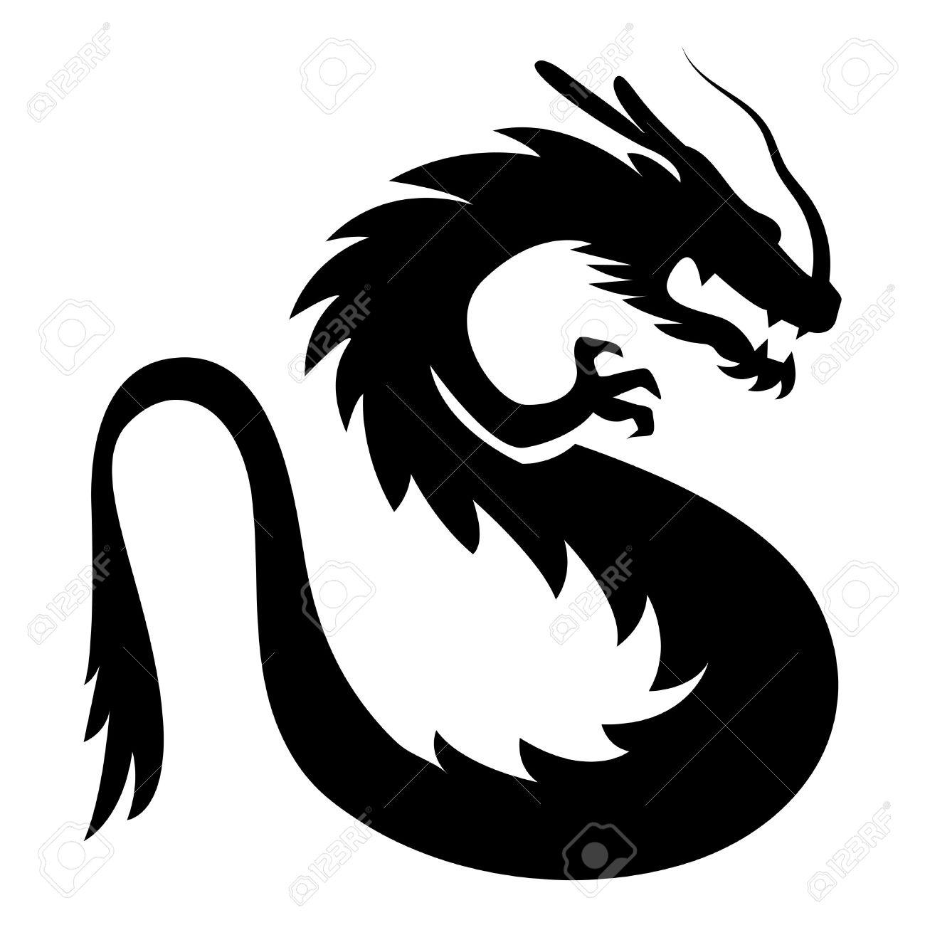 Vector Stylized Dragon Illustration Isolated On White Background - 43126688