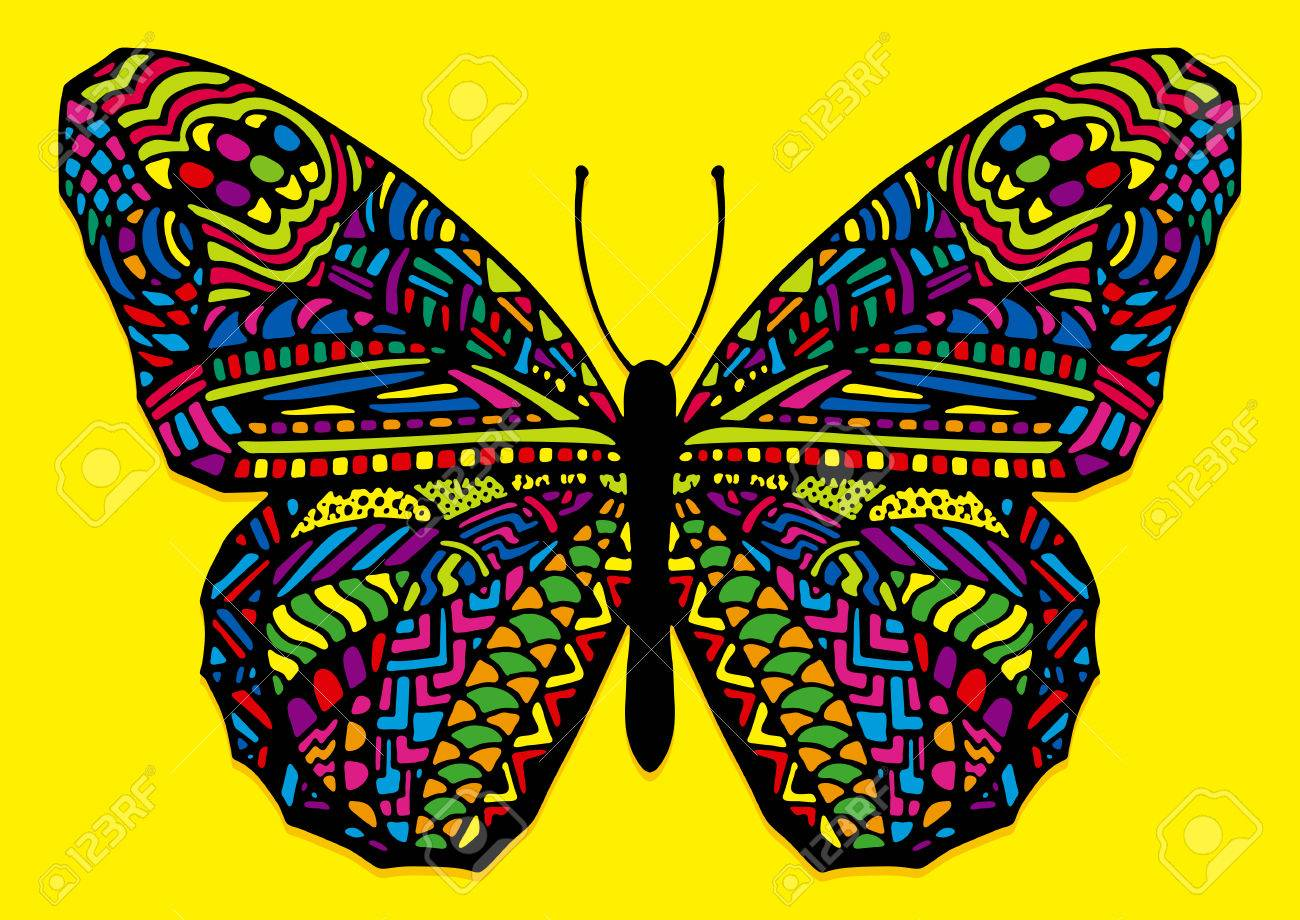 Vector Colorful Hand Drawn Zentangle Style Butterfly Royalty Free Cliparts Vectors And Stock Illustration Image 43882089