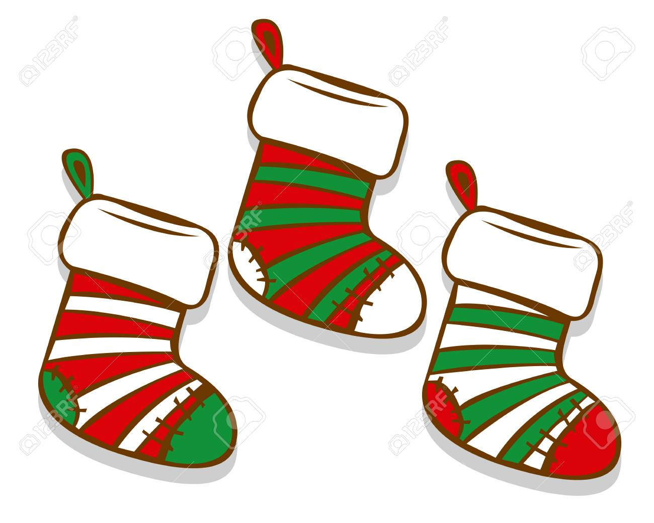 Christmas Stockings Cartoon.Vector Cartoon Christmas Socks Isolated On White Background