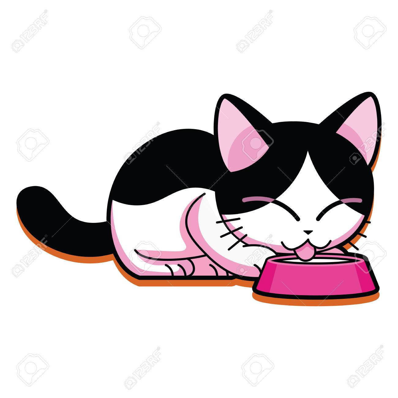 Vector Cartoon Cute Cat Eating Isolated On White Background Royalty
