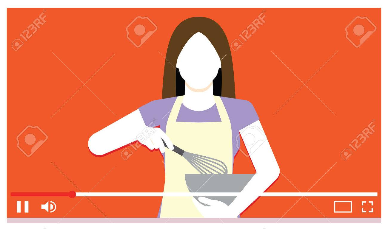 Vector Young Woman Cooking On Internet Video - 74225051