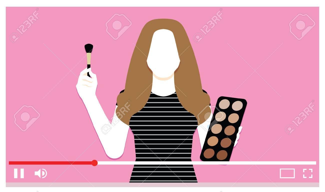 Vector Make Up Artist On Internet Video - 74225107