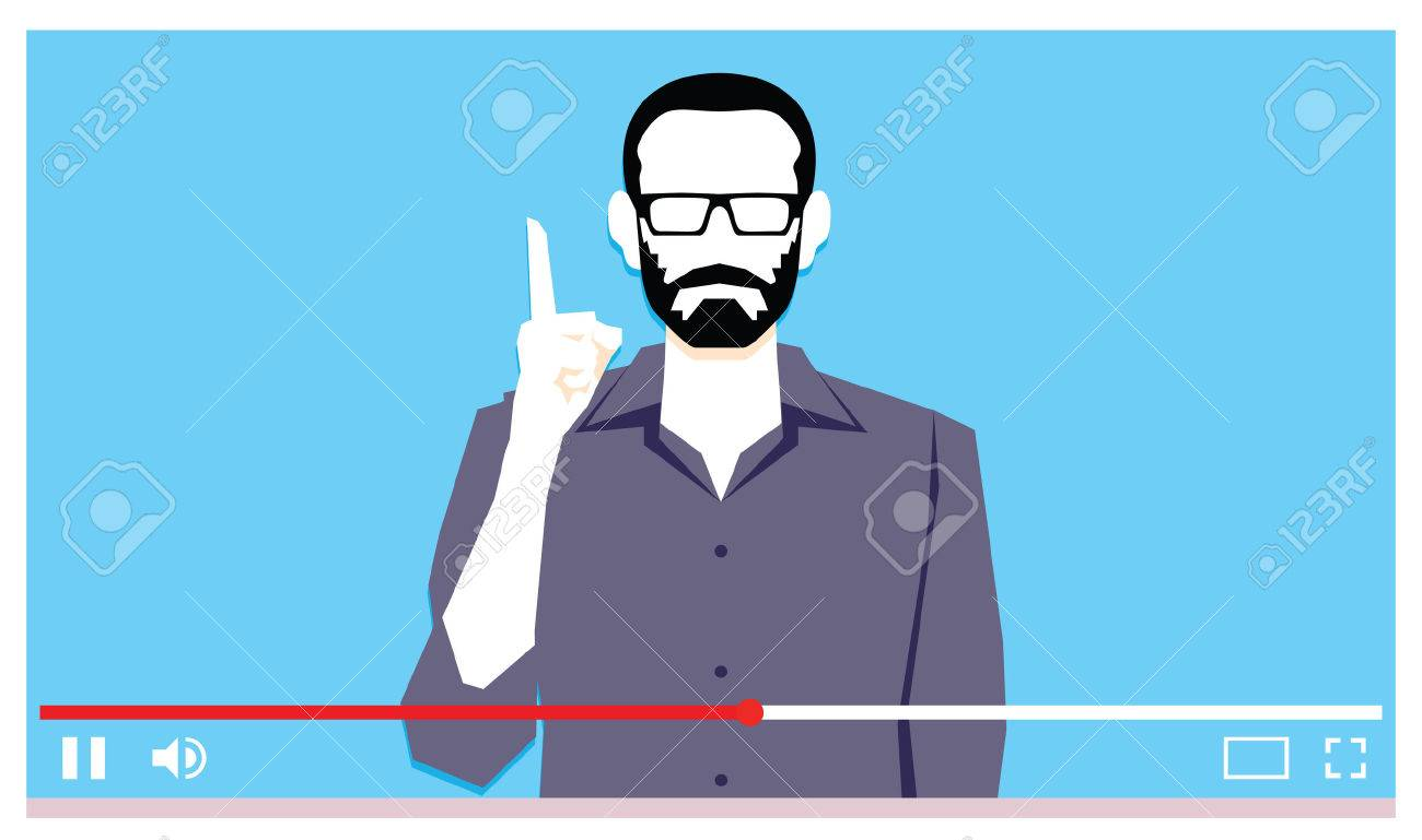 Vector Young Man Speaking On Internet Video - 74225113