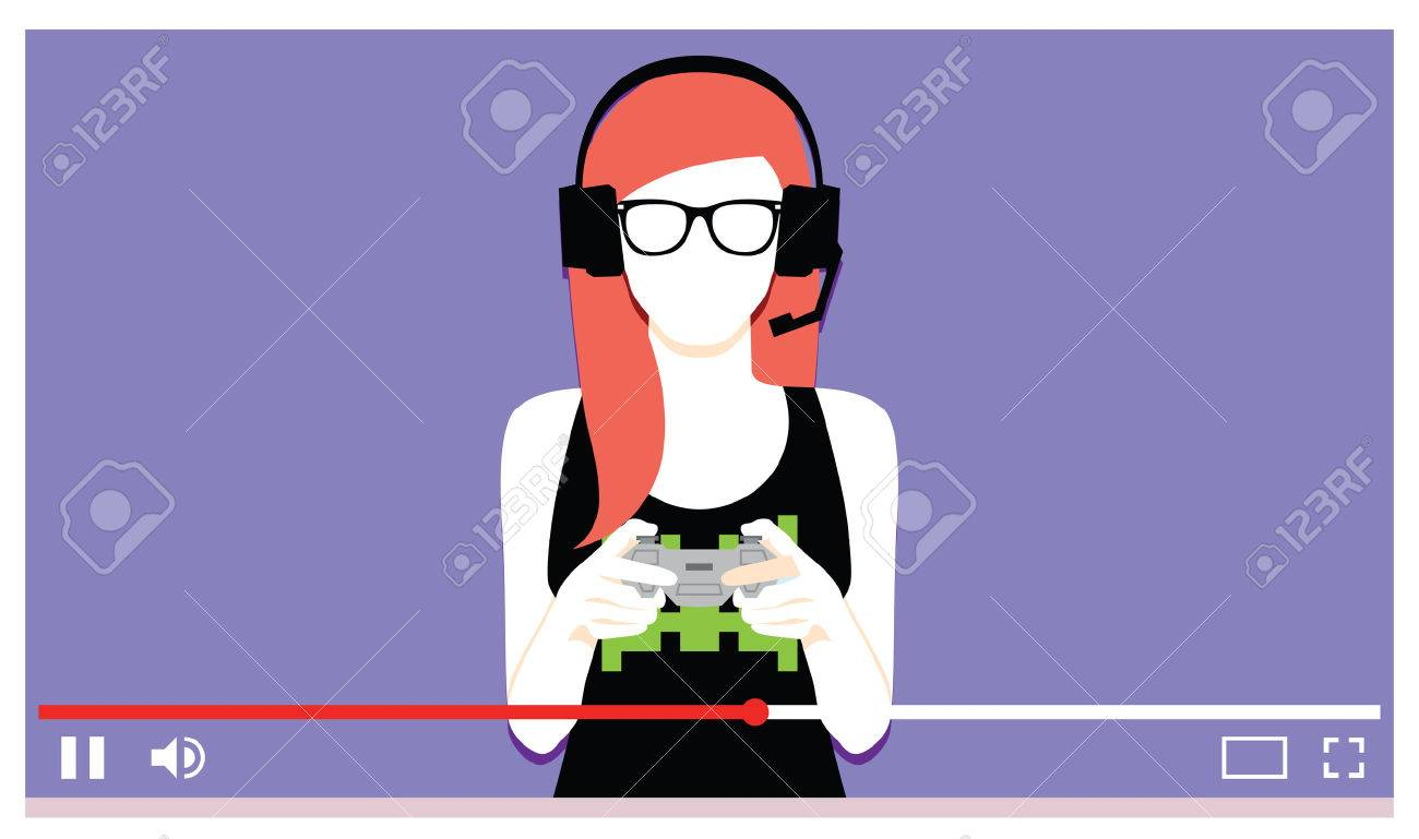 Vector Young Woman Playing Videogames On Video - 74225115