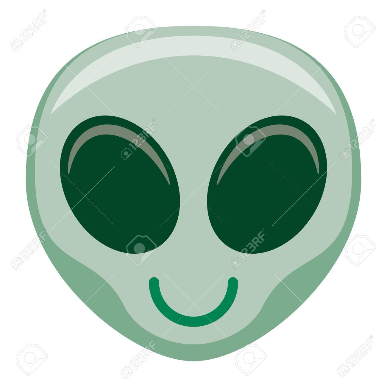 Vector Cartoon Alien Emoji Isolated On White Background Stock Photo