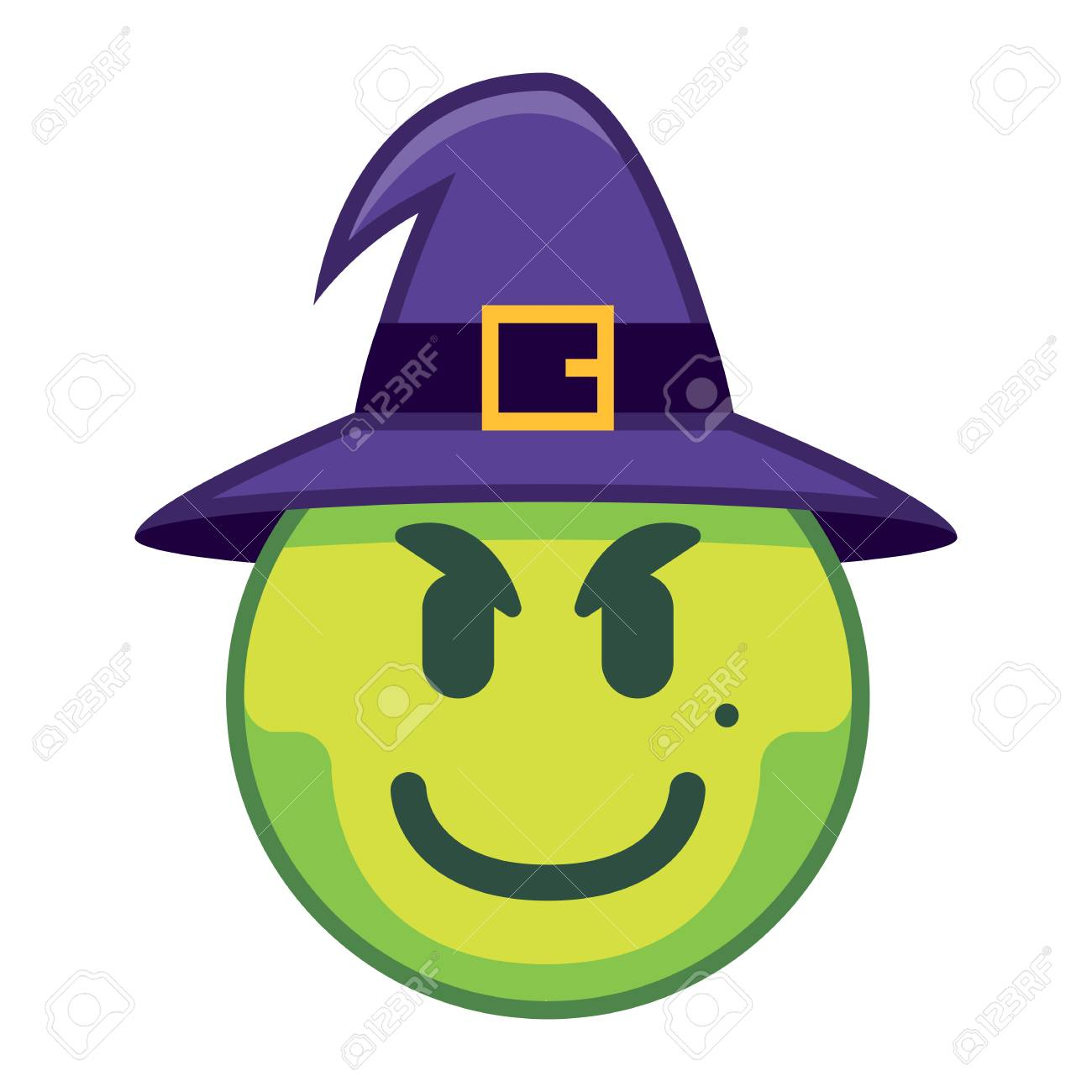Vector Cartoon Witch Emoji Isolated On White Background