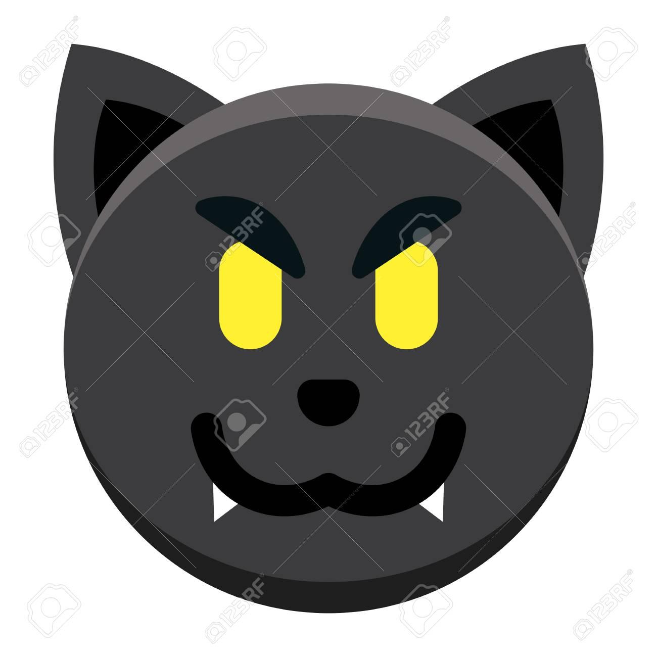 Vector Cartoon Black Cat Emoji Isolated On White Background Royalty