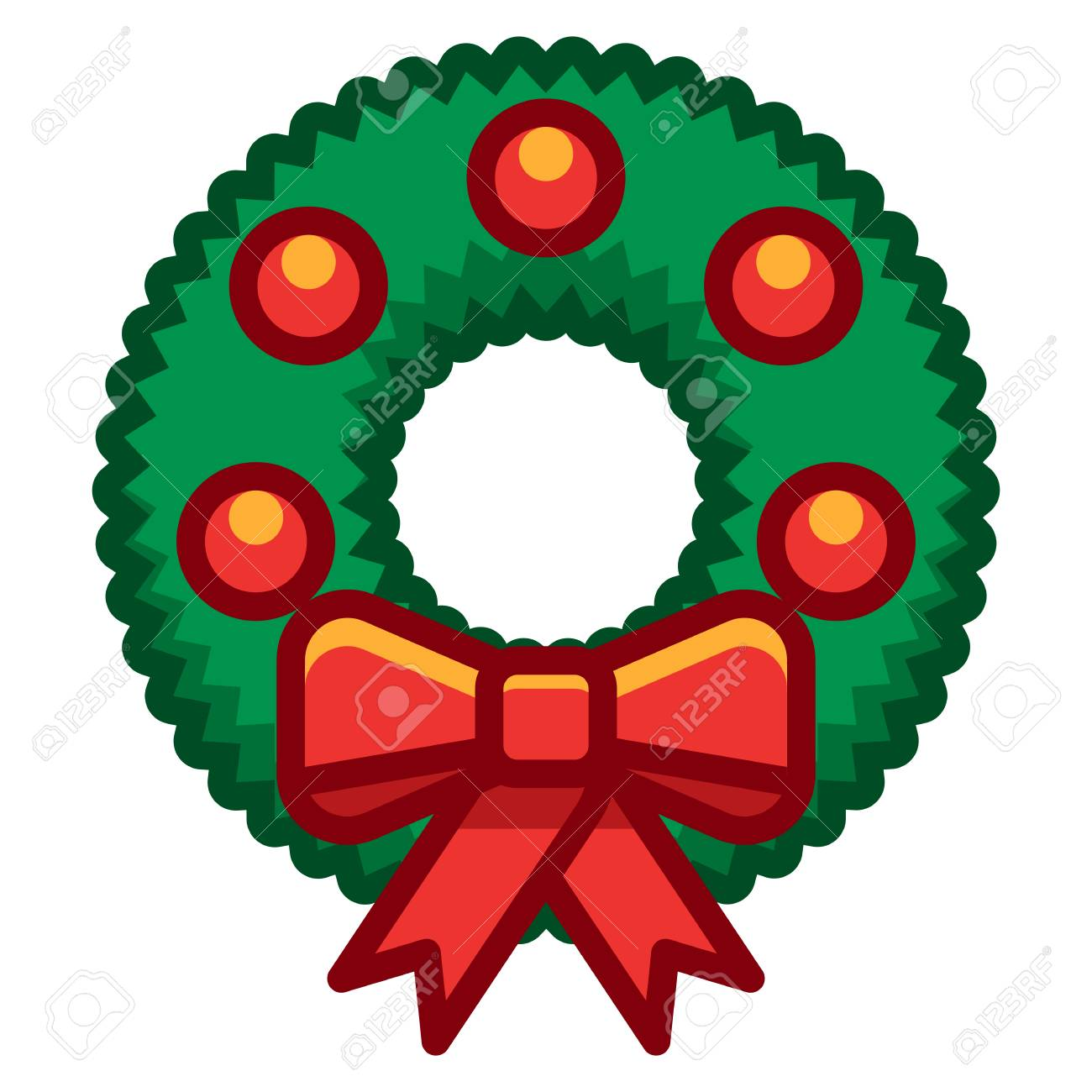 Cartoon Christmas Wreath Illustration