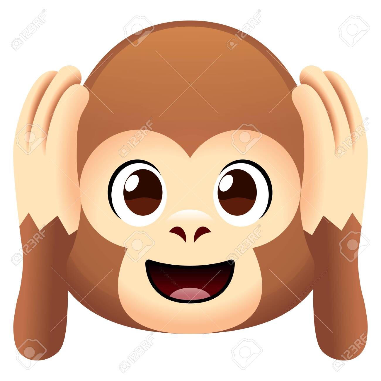 Cartoon Cute Monkey Face Isolated On White Background Royalty Free Cliparts Vectors And Stock Illustration Image 120899096