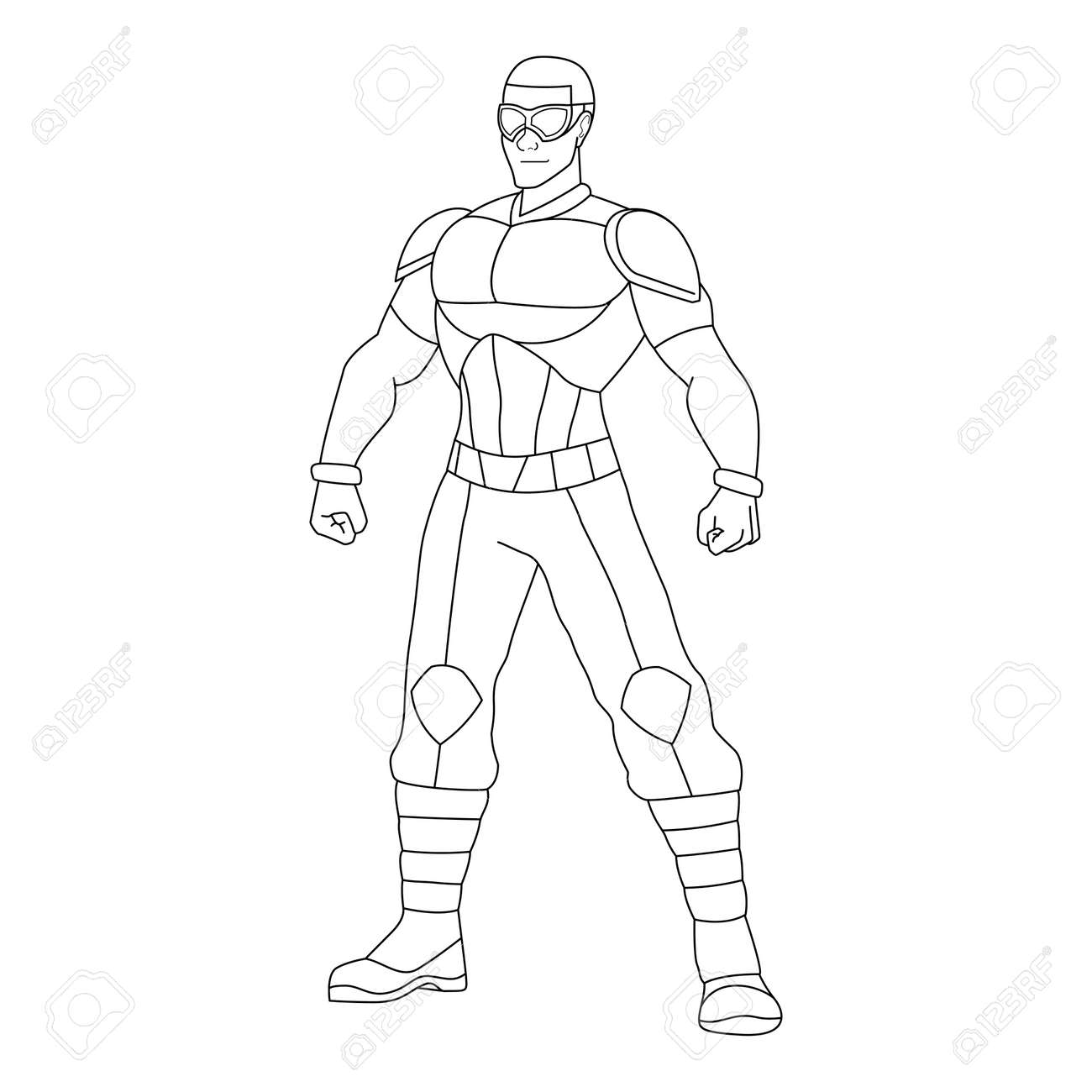 Outline of a superhero cartoon - Vector illustration - 164693159