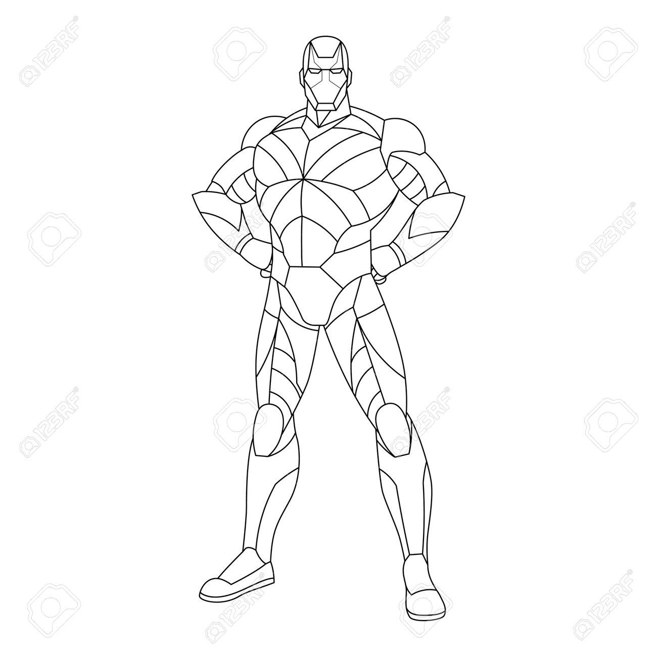 Outline of a superhero cartoon - Vector illustration - 164693166