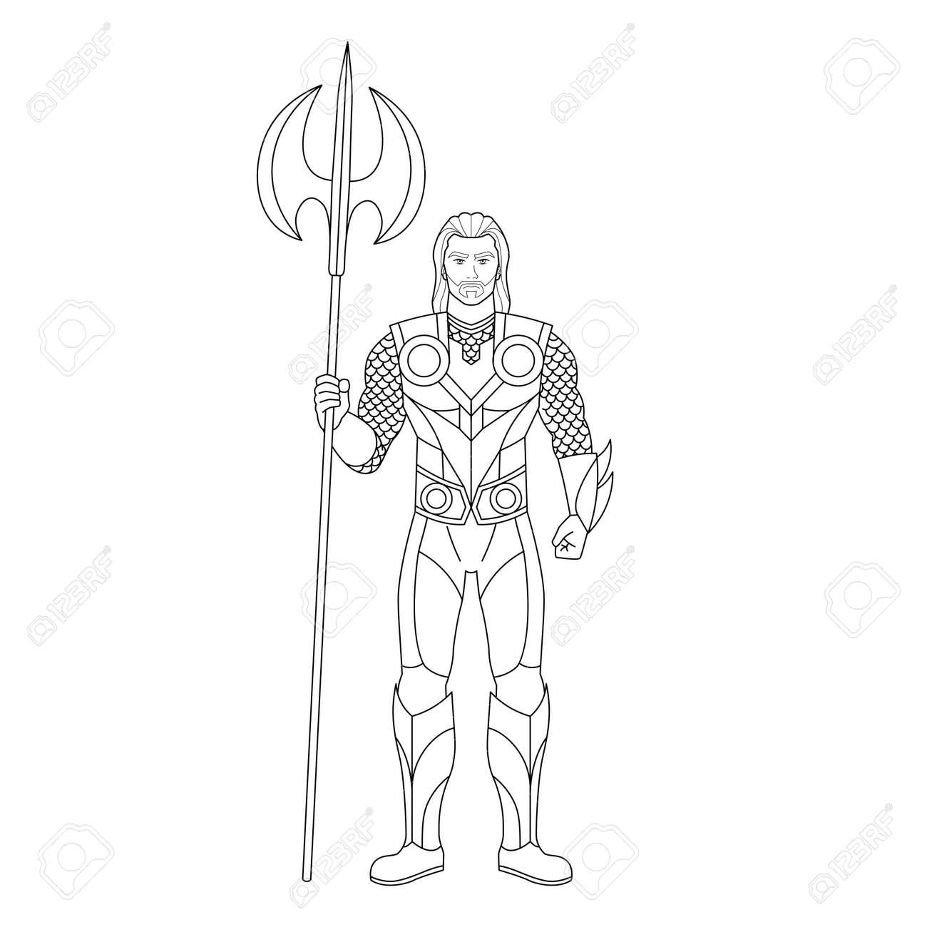 Outline of a superhero cartoon - Vector illustration - 164693171