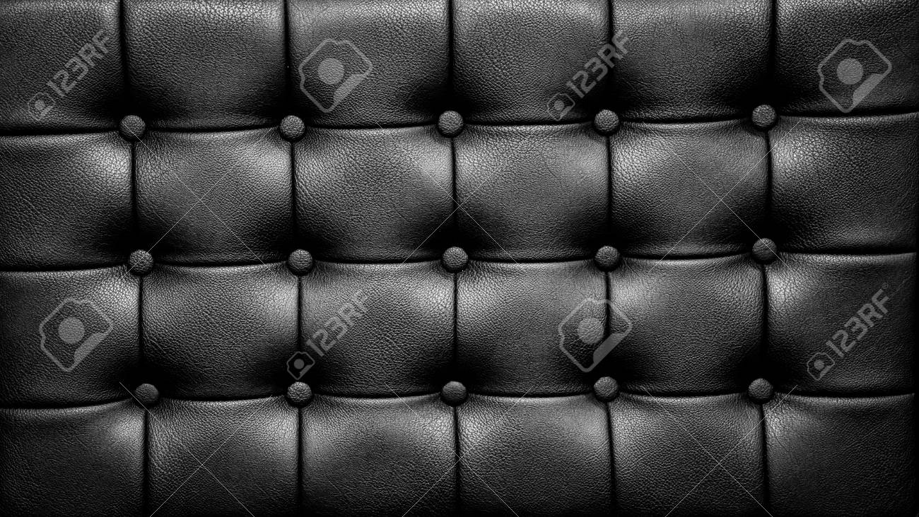 Leather Sofa Surface of Black Sofa Chair, Buttons on the Rexine