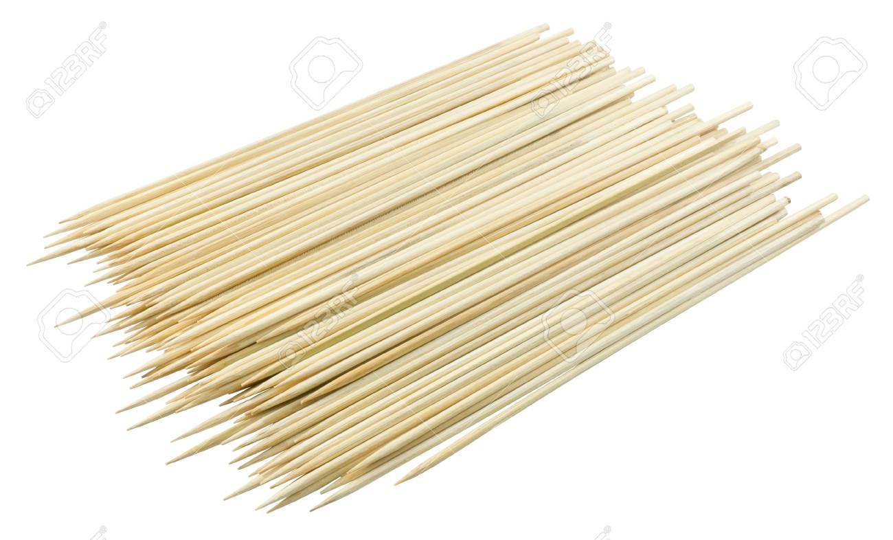 Kitchen Utensils Pile Of Wooden Sticks Or Bamboo Skewers Used