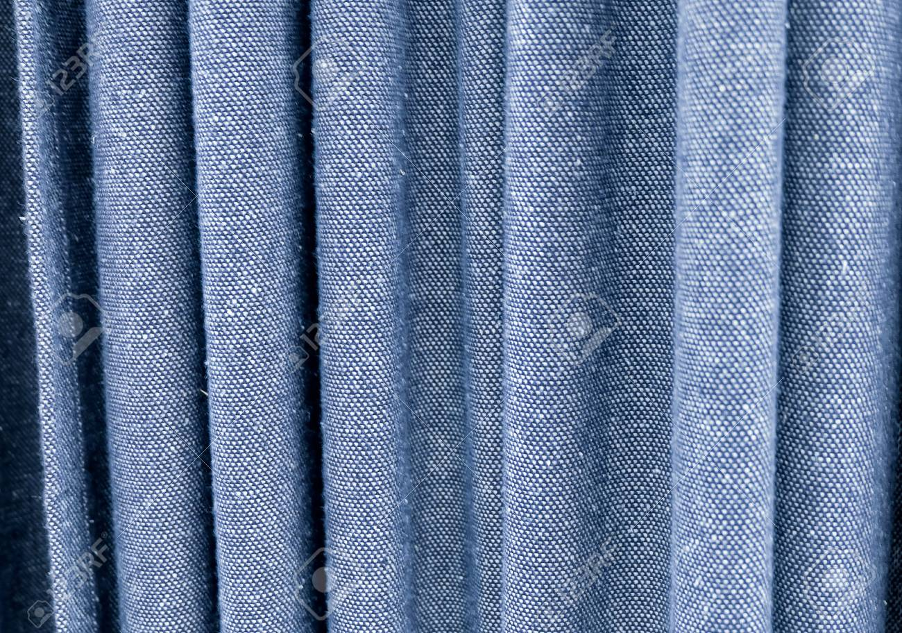 Fabric Texture Background Close Up Of Blue Denim Curtain Stock Photo