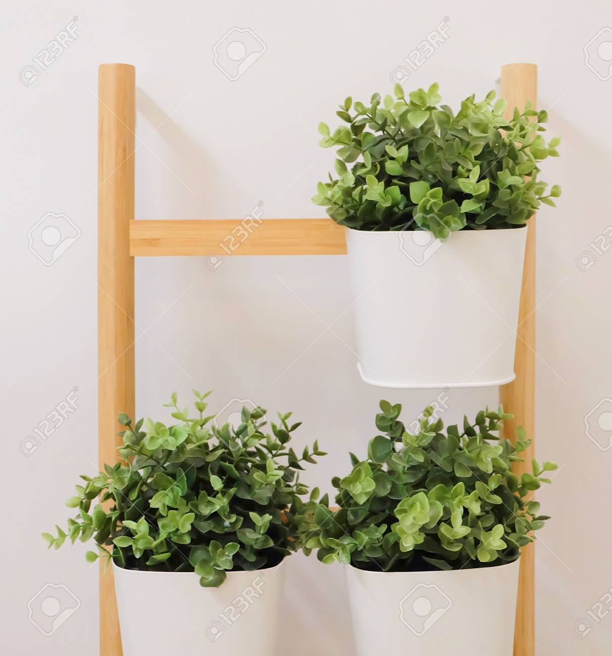 123RF.com & Artificial Green Plants in A White Metal Flower Pots Stand on..