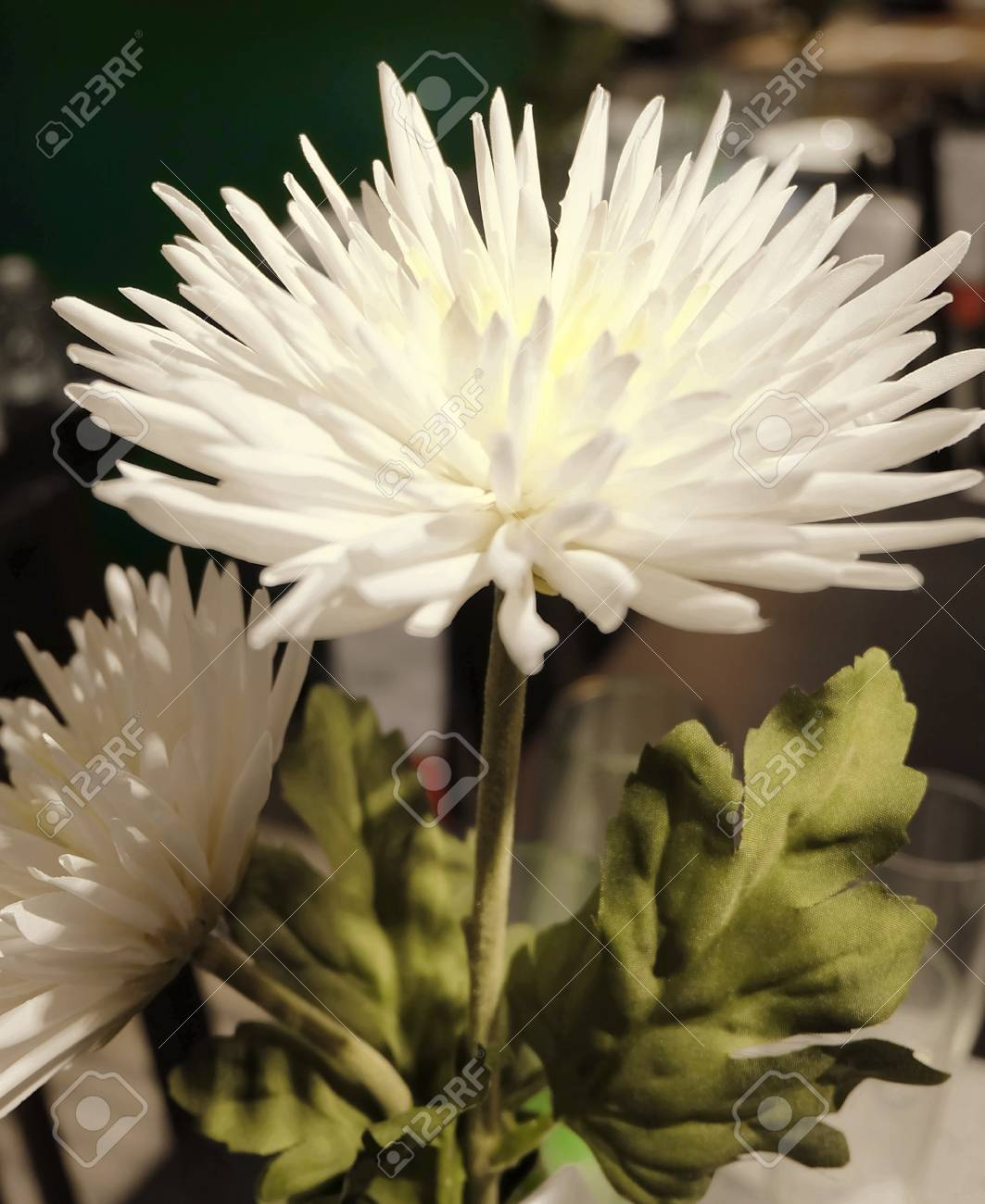 Pretty white artificial chrysanthemum flower with green leaves pretty white artificial chrysanthemum flower with green leaves for home and office decoration without the care mightylinksfo