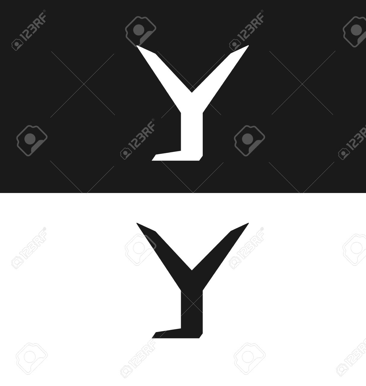 Letter Y Icon Design Template Black And White Version Royalty Free