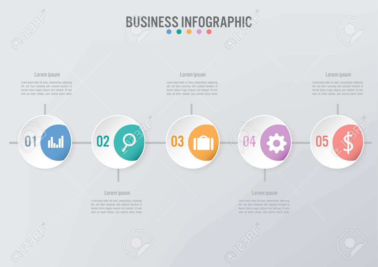 Business infographic template with 5 options, Abstract elements diagram or processes and business flat icon, Vector business template for presentation.Creative concept for infographic. - 126323237
