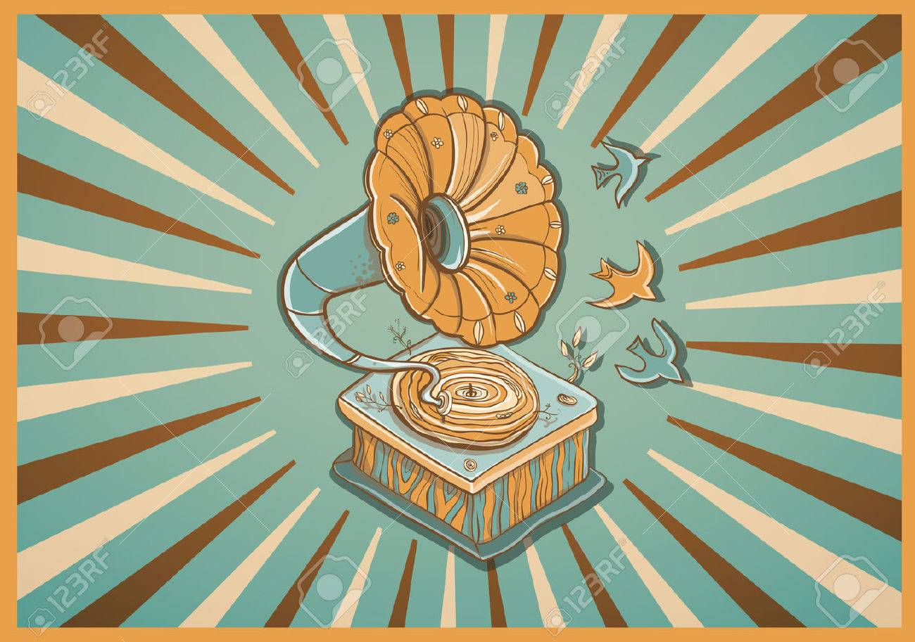 Vector illustration for greeting card with retro gramophone, birds and plants. Revived music. warm colors. eps 10 - 42317274