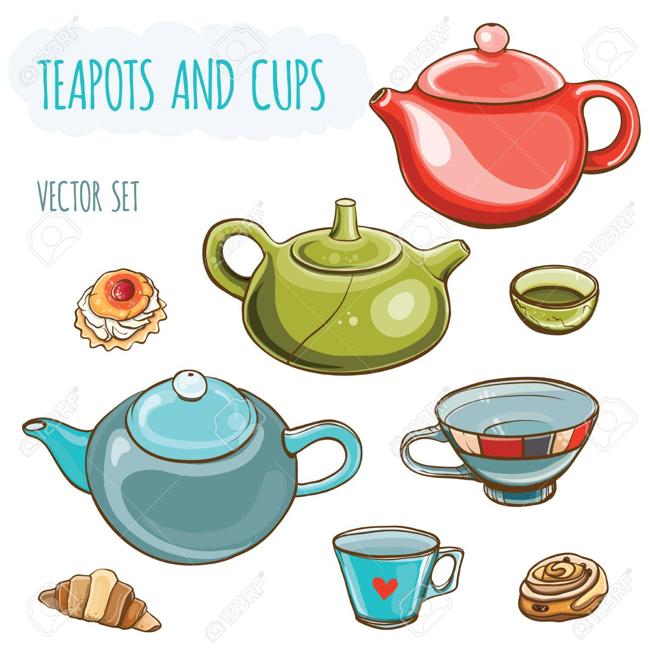 Tea set. Vector illustration set of teapots and cups.Tea time. Isolated. - 44897898