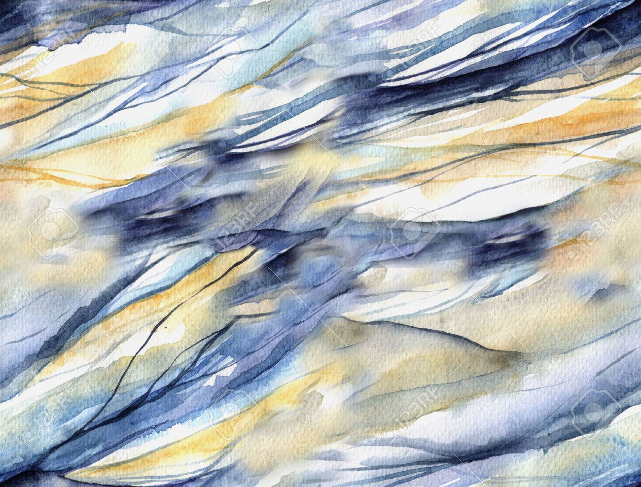 Abstract seamless pattern with watercolor spots. Watercolor painting as backdrop for your design. Smooth wave texture. - 47615752