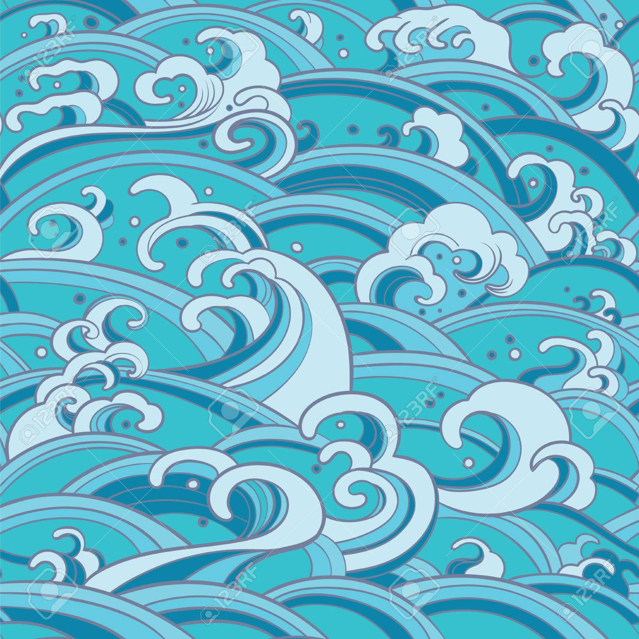 Traditional oriental seamless pattern with ocean waves, foam, splashes. sea backdrop - 54007874
