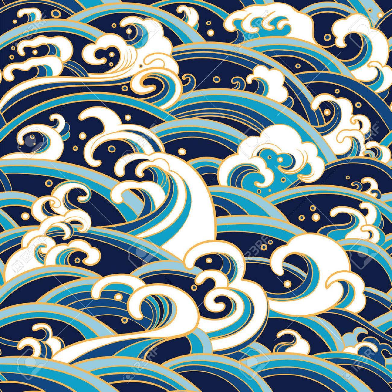 Traditional oriental seamless pattern with ocean waves, foam, splashes. - 54007875