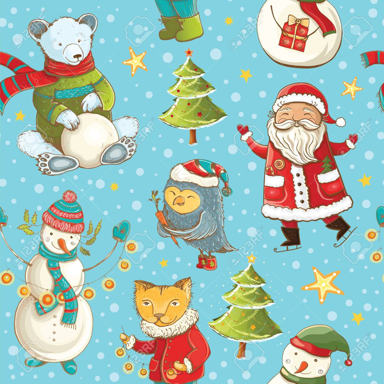 Seamless Vector Pattern With Santa Claus Snowman Christmas Tree And Cute Animals Tileable