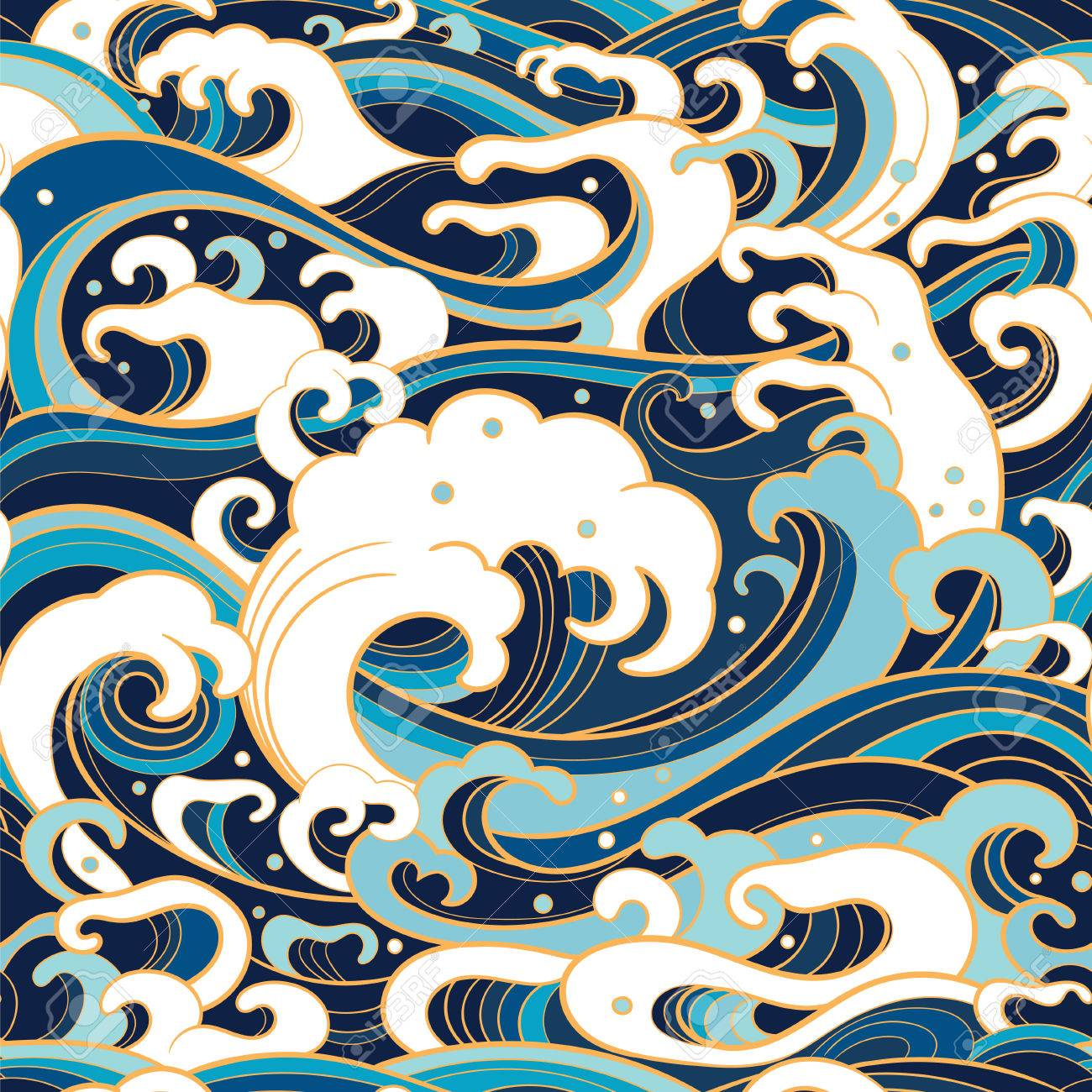Traditional oriental seamless pattern with ocean waves, foam, splashes. Vector backdrop - 77304394