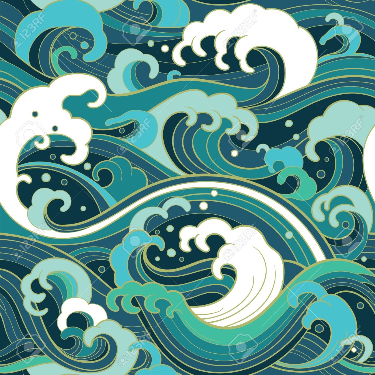 Traditional oriental seamless pattern with ocean waves, foam, splashes. Vector backdrop - 77304405