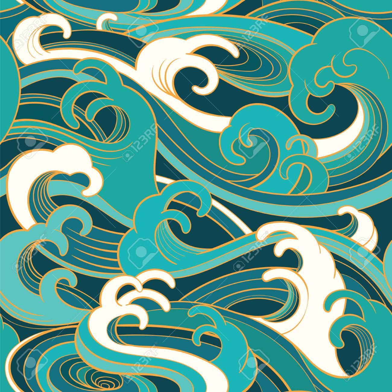 traditional oriental seamless pattern with ocean waves foam