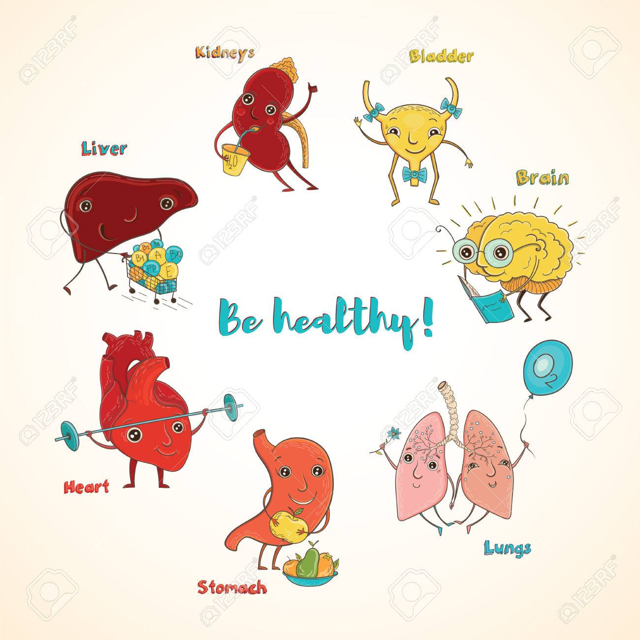 Cartoon Vector Illustration Of Healthy Human Organs. Funny ...