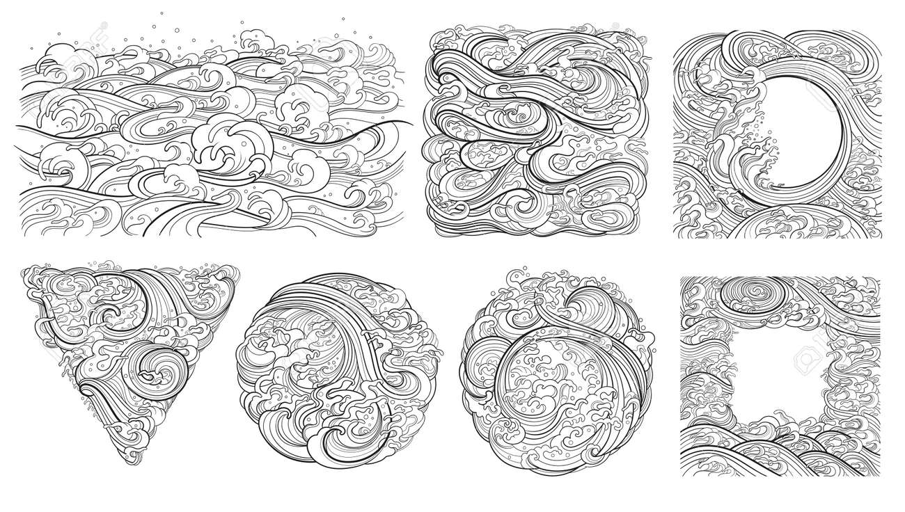 A set of vector contour elements, templates on the theme of waves in an oriental style. - 170091937
