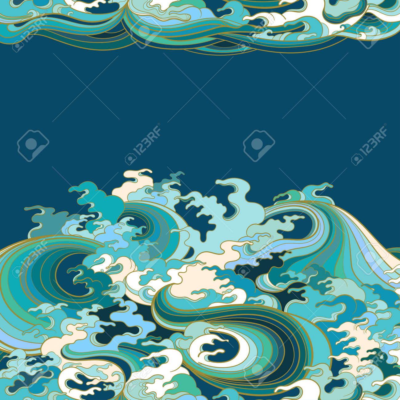 Vector background with waves in traditional oriental style. - 170091945