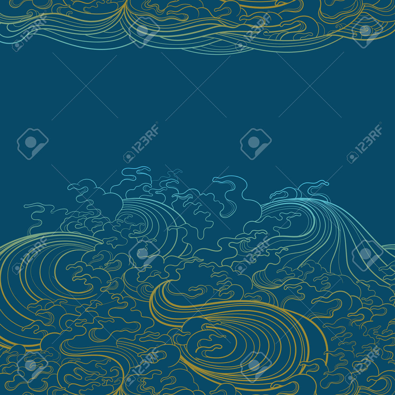 Vector background with waves in traditional oriental style. - 170091946